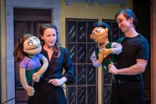 Jennifer Theby-Quinn as Kate Monster and Andrew Keeler as Princeton in AVENUE Q, Jan 25 - Mar 3 at The Playhouse@Westport Plaza (Photo Credit: John Flack)