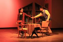Katie Palazzola and Kelvin Urday in Tesseract Theatre's production of HELVETICA. Photo Credit: Jackie Zigler.