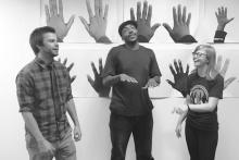 Nathan Maul, Sherard E. Curry and Anna Drehmer in AM I BLACK ENOUGH YET? Directed by Bre Love. Photo Credit:Tesseract Theatre Company