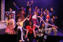 """The company singing """"Nothing Bad's Ever Gonna Happen Again"""" in CRY-BABY, New Line Theatre, 2019. Photo credit: Jill Ritter Lindberg"""