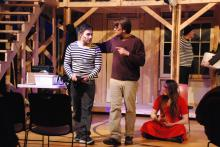 Mike McPartland, Anthony Wininger, Cassie Elam and Bill Blanke in NOISES OFF thru Mar 13, 2016. Photo Credit: John Davidson